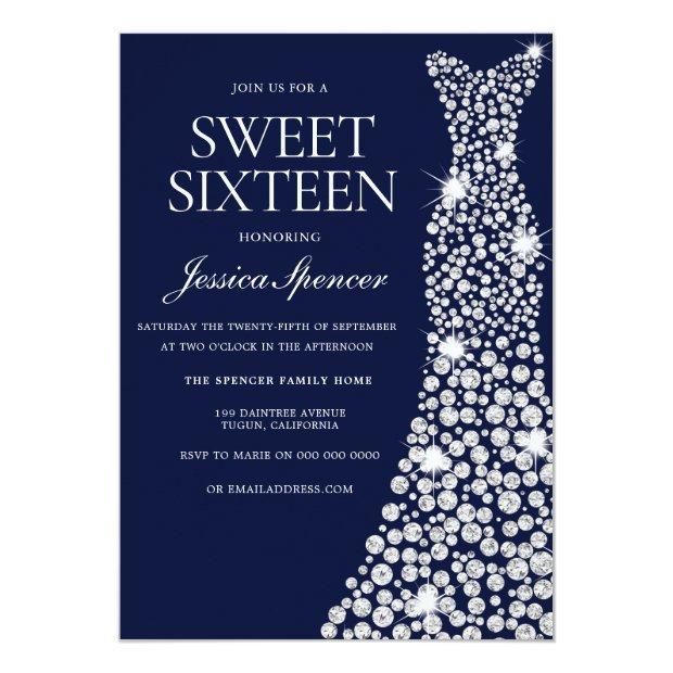 Navy Blue White Dress Sweet 16 Invite