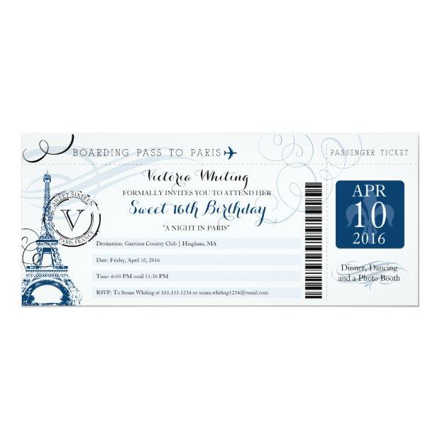 Night In Paris | Sweet 16 Birthday Invitations