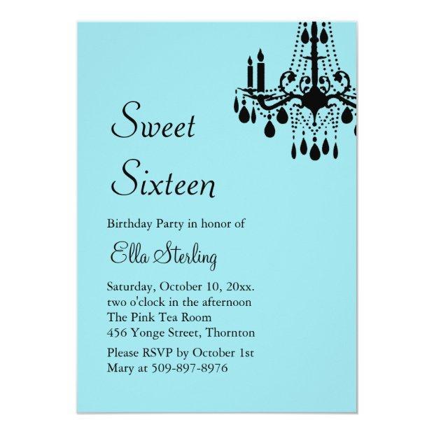 Offset Grand Ballroom Birthday Invite (turquoise)