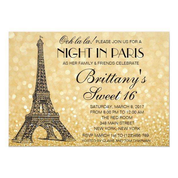 Paris Sweet 16 Gold Glitter Lights Invitation