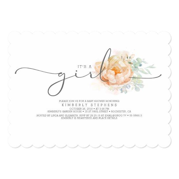 Peach And Cream Floral Calligraphy Baby Shower Invitation