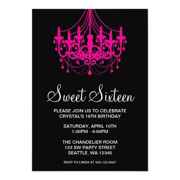 Pink And Black Chandelier Sweet Sixteen Birthday Invitations