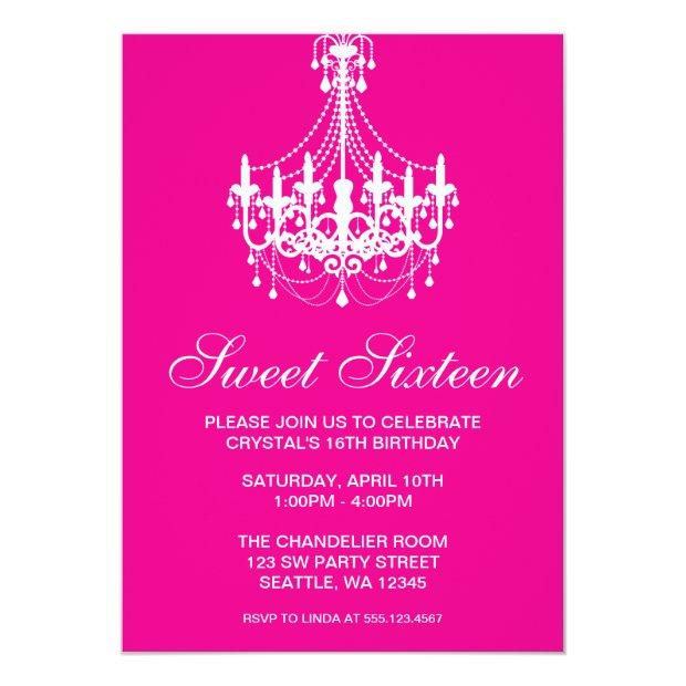 Pink And White Chandelier Sweet Sixteen Birthday Invitations