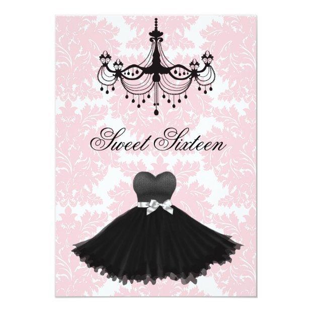 Pink Black Damask Chandelier Sweet Sixteen Birthda