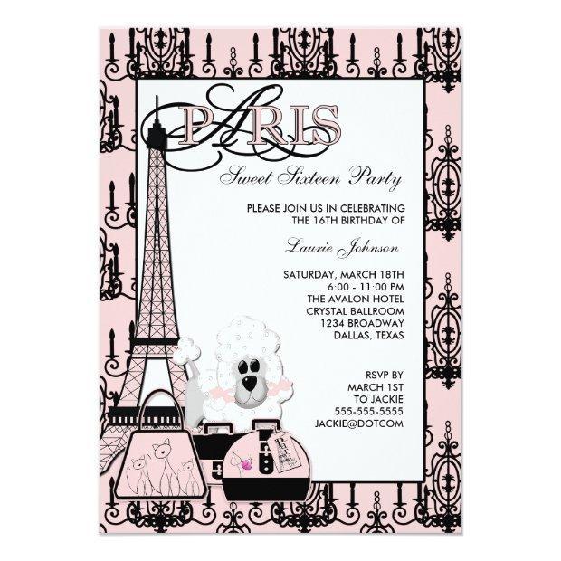 Pink Black Paris Chandelier Sweet 16 Party Invitations