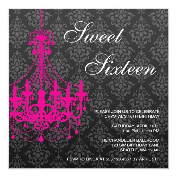 Pink Chandelier Black Damask Sweet 16 Birthday