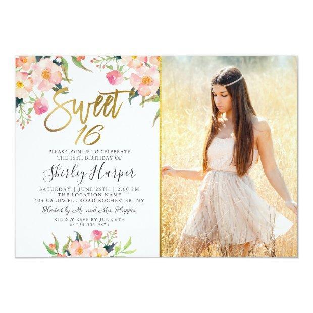 Pink Floral Gold Script Sweet 16 Birthday Photo Invitation