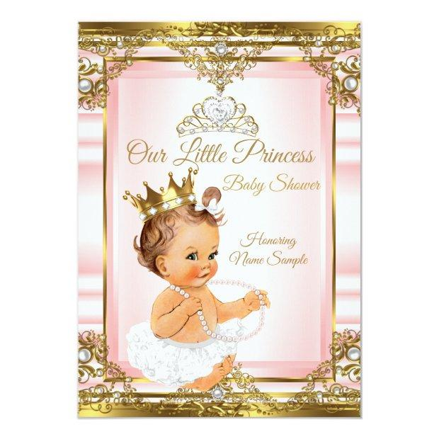 Pink Gold White Pearl Princess Baby Shower Light Invitation