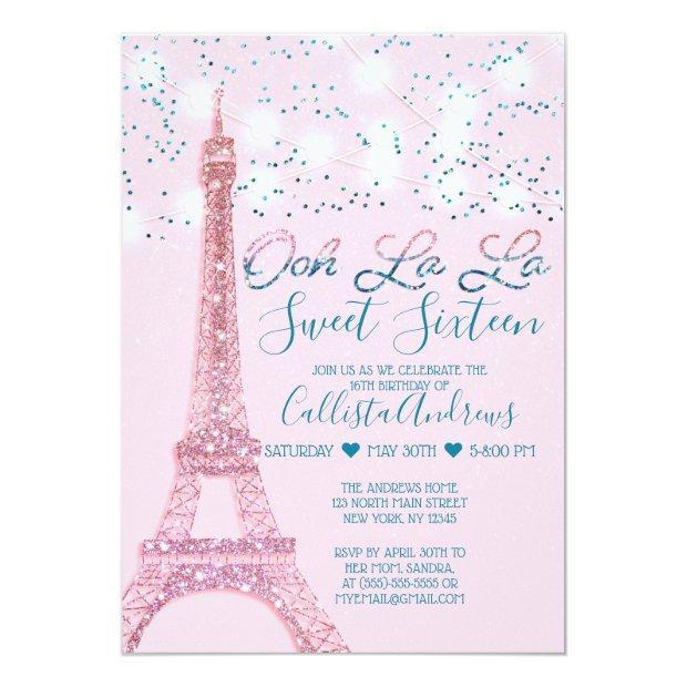 Pink Paris Eiffel Tower Glitter Lights Sweet 16 Invitation
