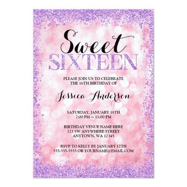 Pink Purple Faux Glitter Lights Sweet 16 Birthday Invitation