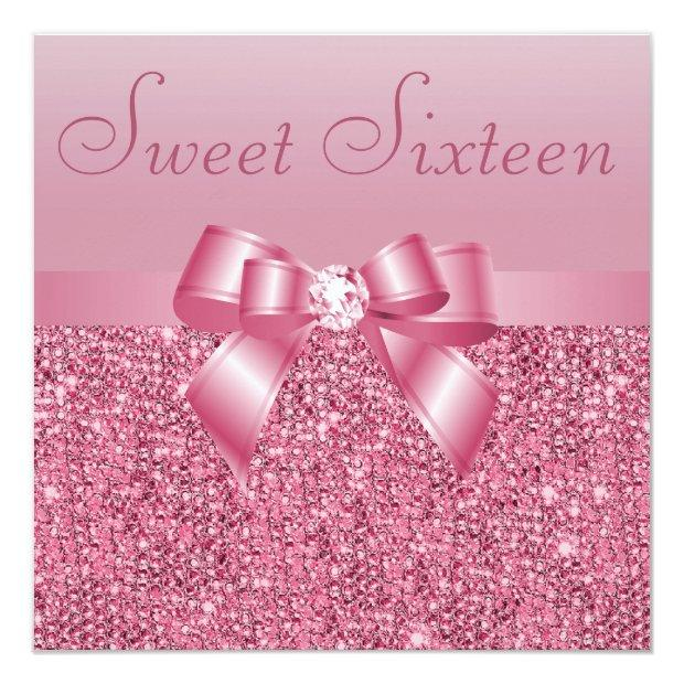 Pink Sequins, Bow & Diamond Sweet 16 Invitations