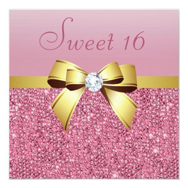 Pink Sequins, Gold Bow & Diamond Sweet 16 Invitations