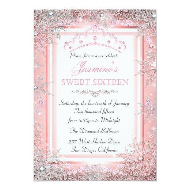 Pink Silver Winter Wonderland Sweet 16 Party Invitation