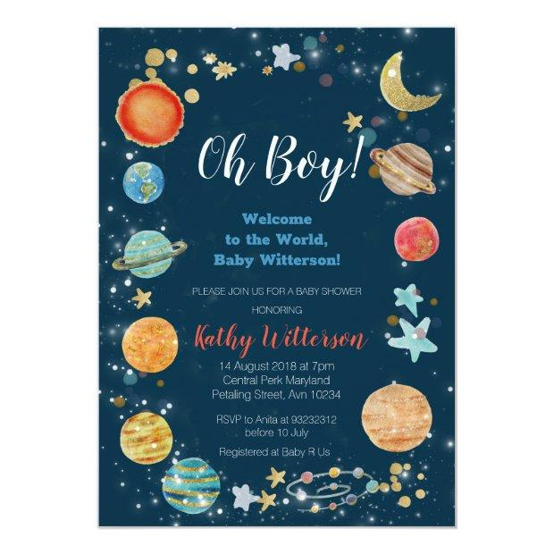 Planets Outer Space Baby Shower Invitation