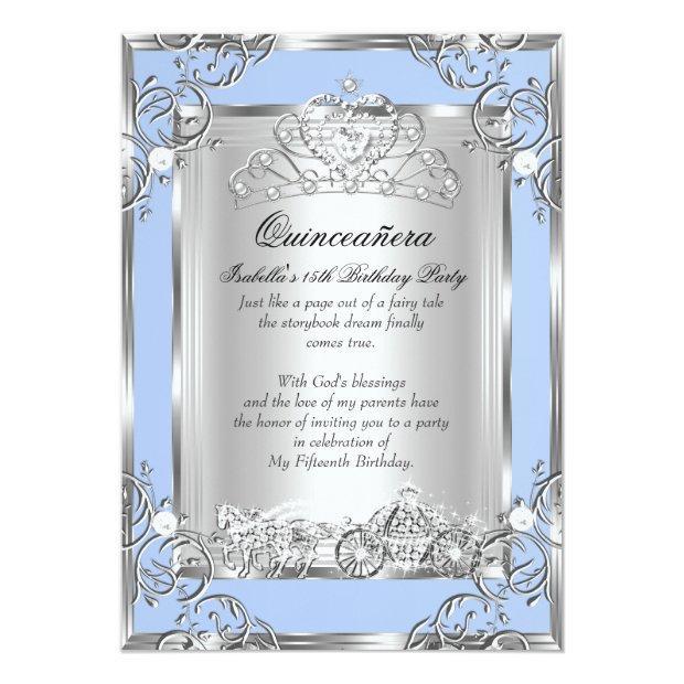 Princess Quinceanera 15th Birthday Blue Silver Invitations