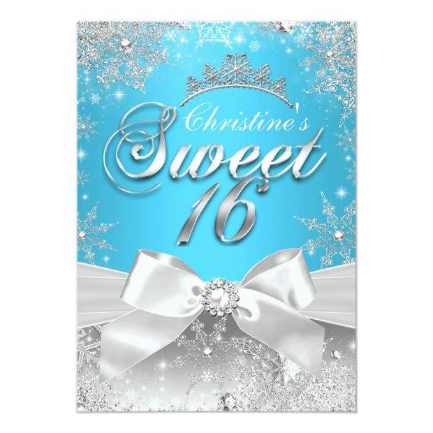 Princess Winter Wonderland Blue Sweet 16 Invite