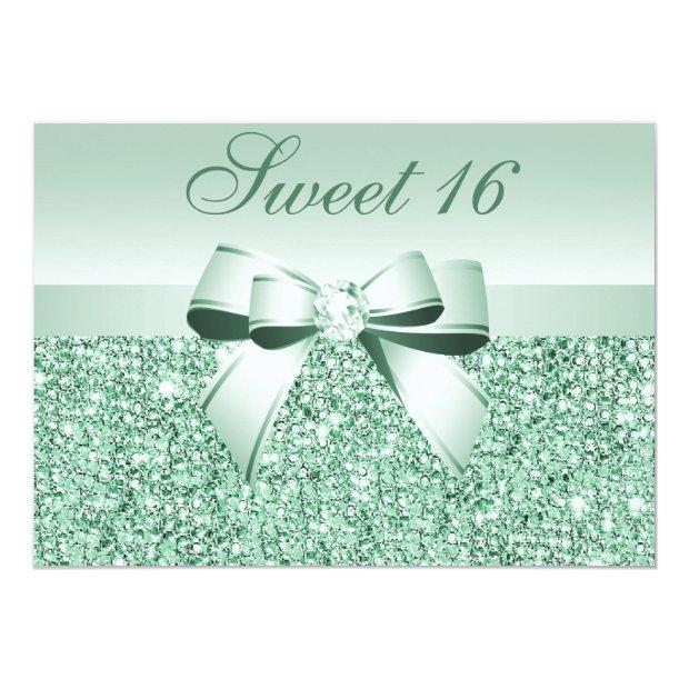 Printed Mint Green Sequins, Bow & Diamond Sweet 16 Invitations