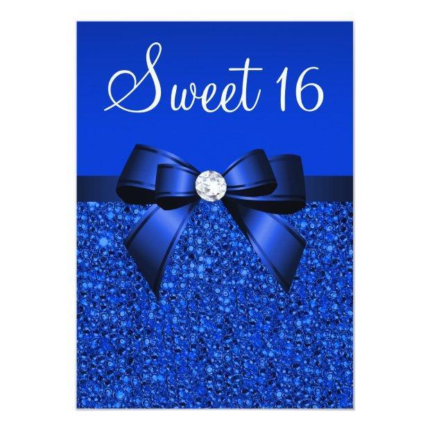 Printed Royal Blue Sequins, Bow & Diamond Sweet 16 Invitations
