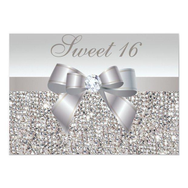 Printed Silver Sequins, Bow & Diamond Sweet 16 Invitations