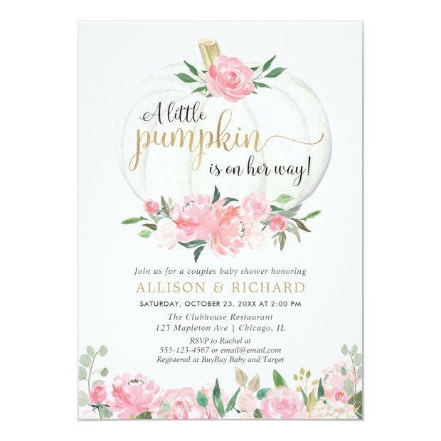 Pumpkin Couples Baby Shower, Pink Gold Elegant Invitation