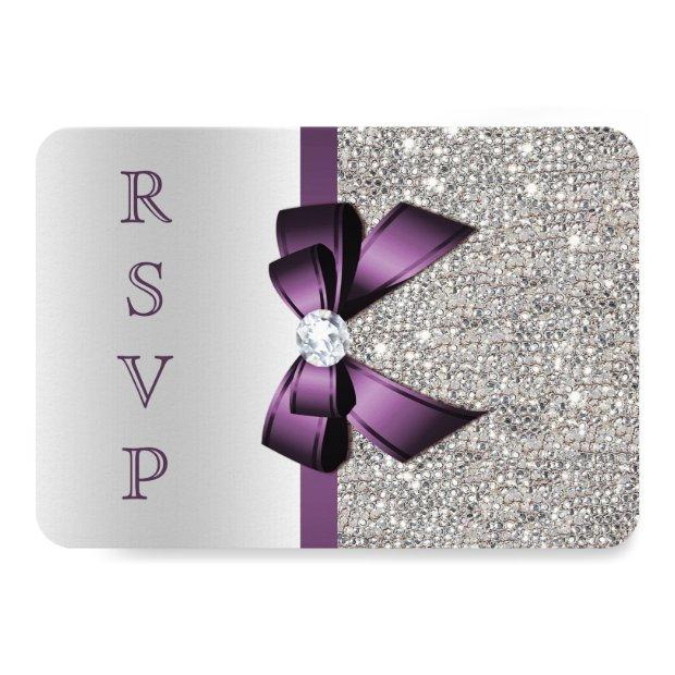 Purple Faux Bow Silver Sequins Diamond Rsvp Invitations