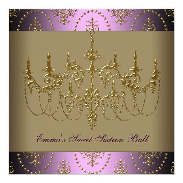 Purple Gold Chandelier Classy Sweet Sixteen Ball