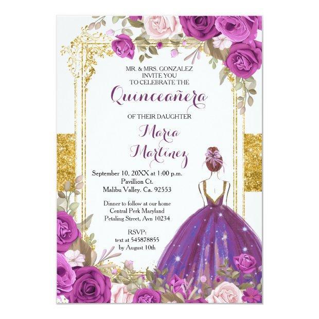 Purple Lilac Flowers Gold Quinceanera Invitation