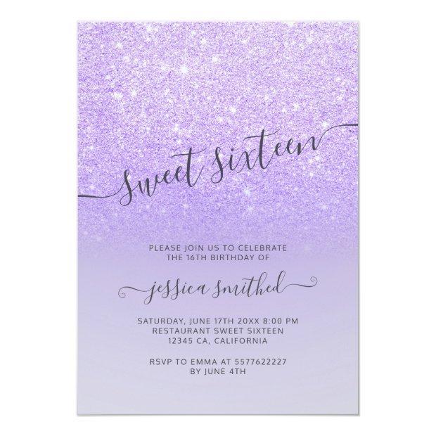 Purple Lilac Glitter Elegant Typography Sweet 16 Invitation