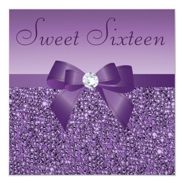 Purple Printed Sequins Bow & Diamond Sweet 16 Invitations