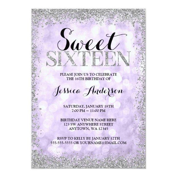 Purple Silver Faux Glitter Lights Sweet 16 Invitations