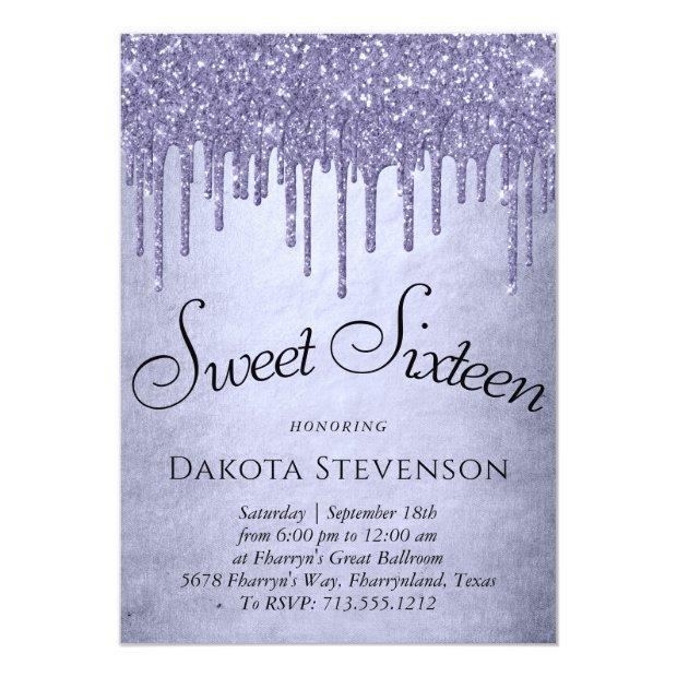 Purple Sweet 16 | Fancy Chic Lavender Glitter Drip Invitation