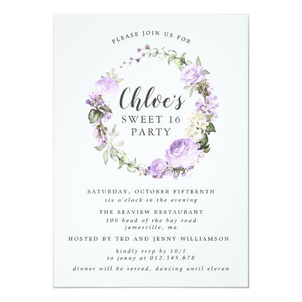 Purple White Floral Wreath Sweet Sixteen Party Invitation