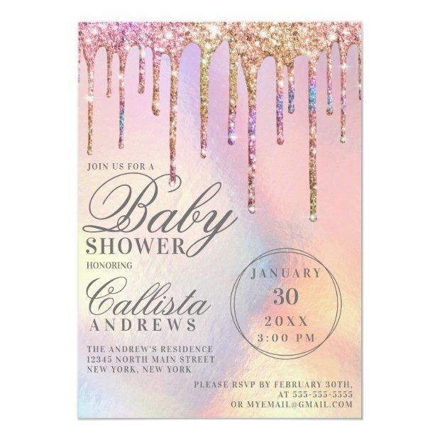 Rainbow Holographic Glitter Drips Baby Shower Invitation