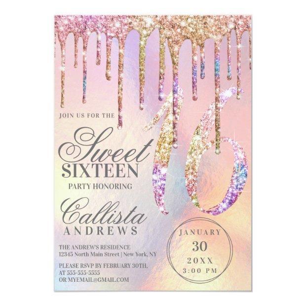 Rainbow Holographic Glitter Drips Sweet 16 Invitation