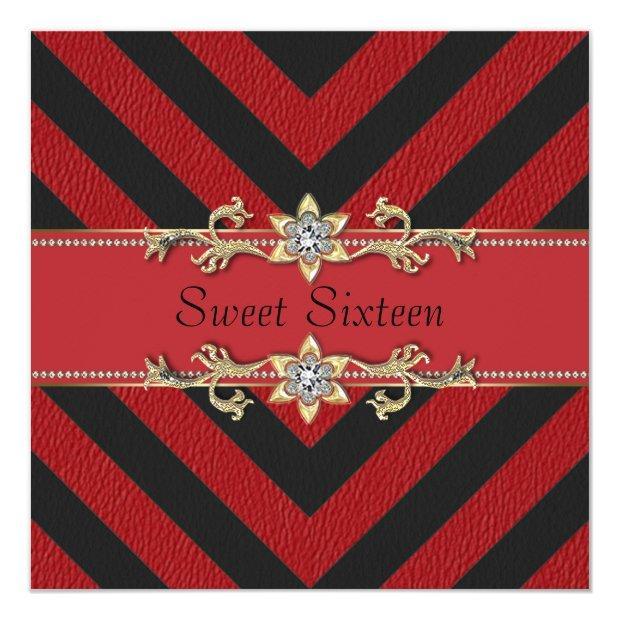 Red Black Sassy Stripe Sweet Sixteen Invitation