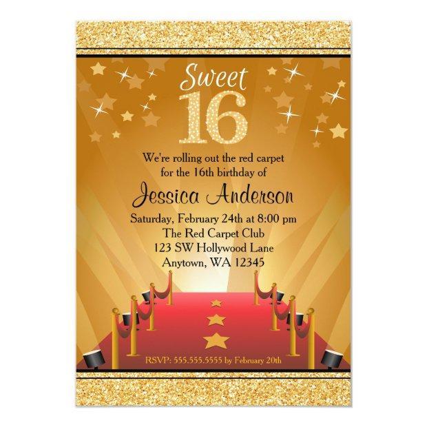 Red Carpet Hollywood Star Gold Sweet 16 Birthday Invitations