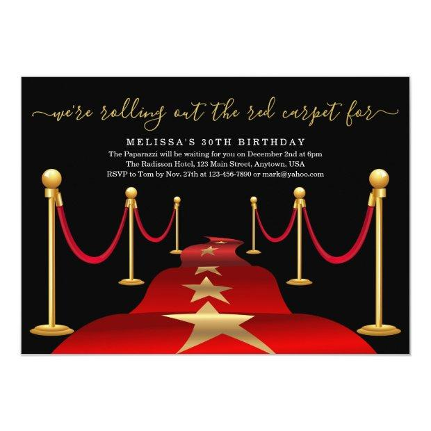Red Carpet Themed Party With Faux Gold Foil Invitations