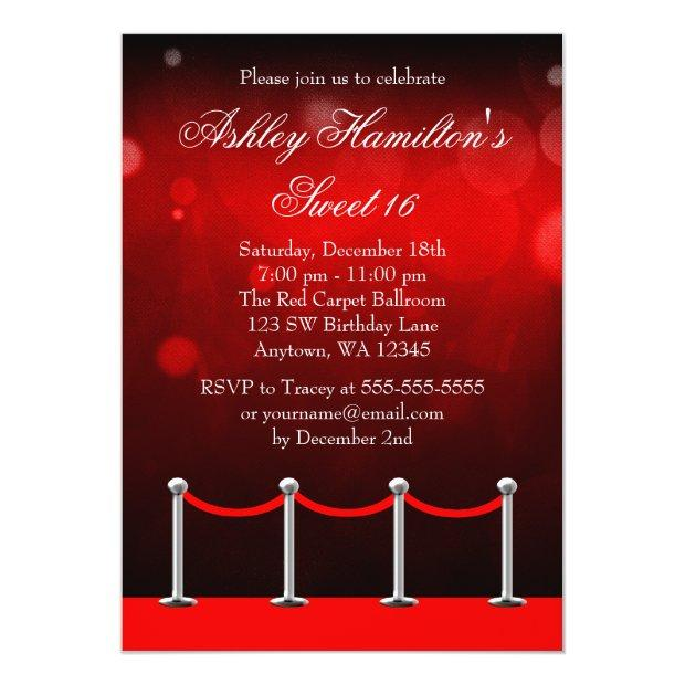 Red Silver Carpet Hollywood Sweet 16 Birthday Invitations
