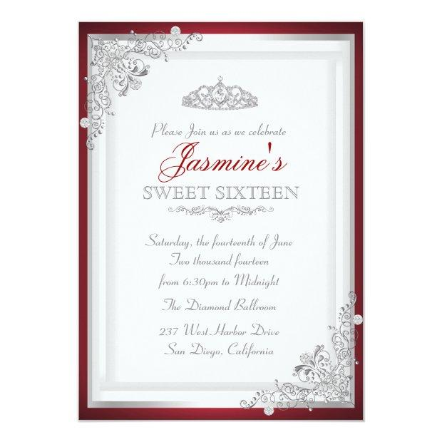 Red Silver Damask Tiara Sweet 16 Invitation
