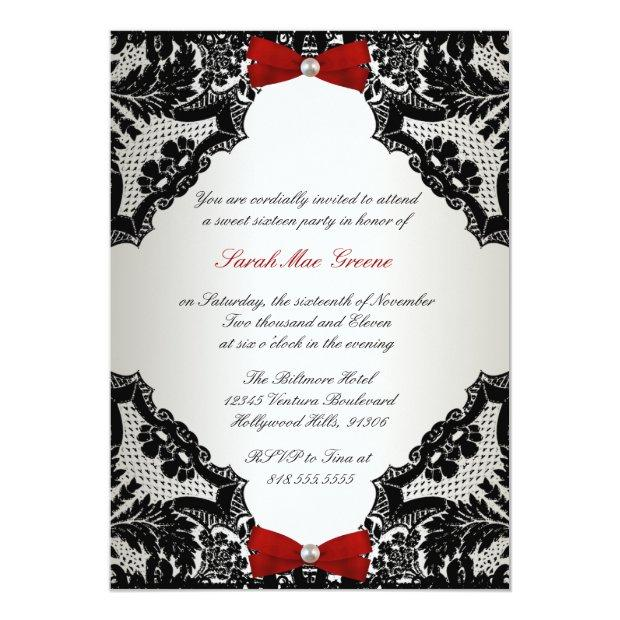 Red, White And Black Lace Sweet 16 Invitations