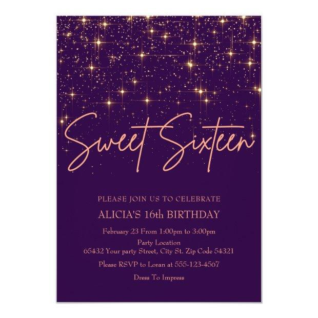 Rose Gold And Purple Sweet 16 Invitation