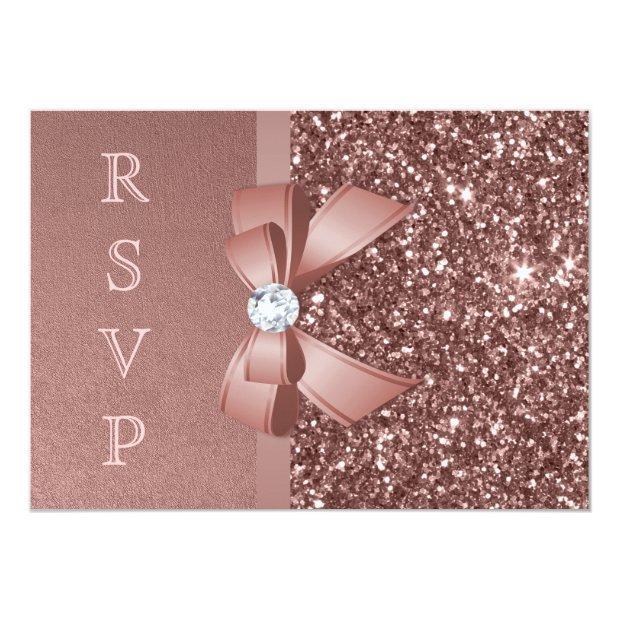 Rose Gold Blush Glitter Bow Rsvp Invitations