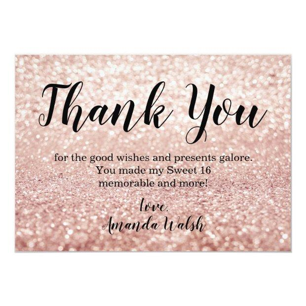 Rose Gold Bokeh Lights Sweet 16 Thank You Note