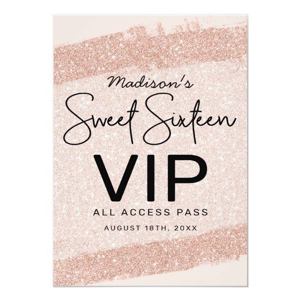 Rose Gold Brush Glitter Sweet 16 Invitation Vip Badge