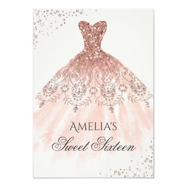 Rose Gold Dress Sparkle Sweet Sixteen Invitation