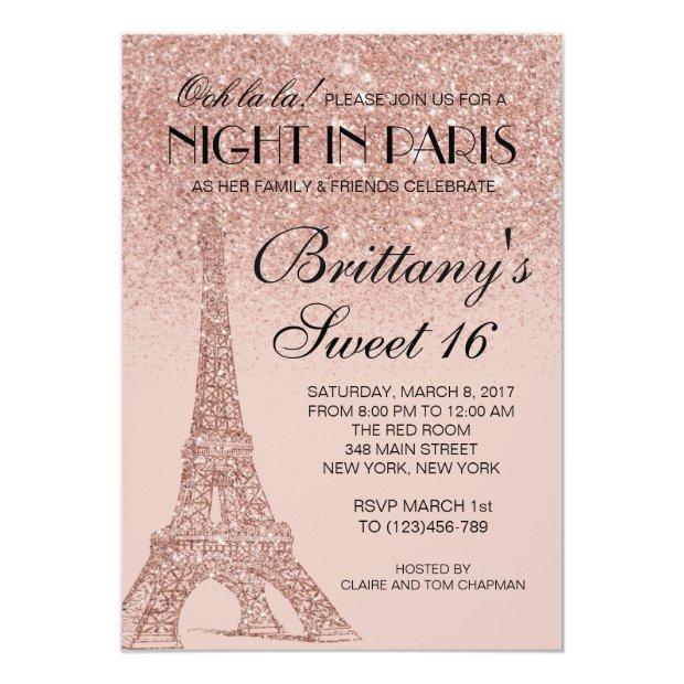 Rose Gold Eiffel Tower Paris Sweet 16 Invitation