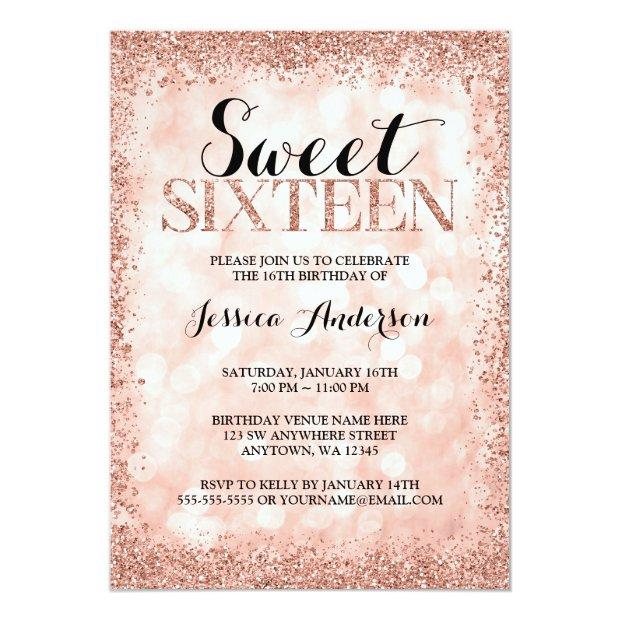 Rose Gold Faux Glitter Lights Sweet 16 Birthday