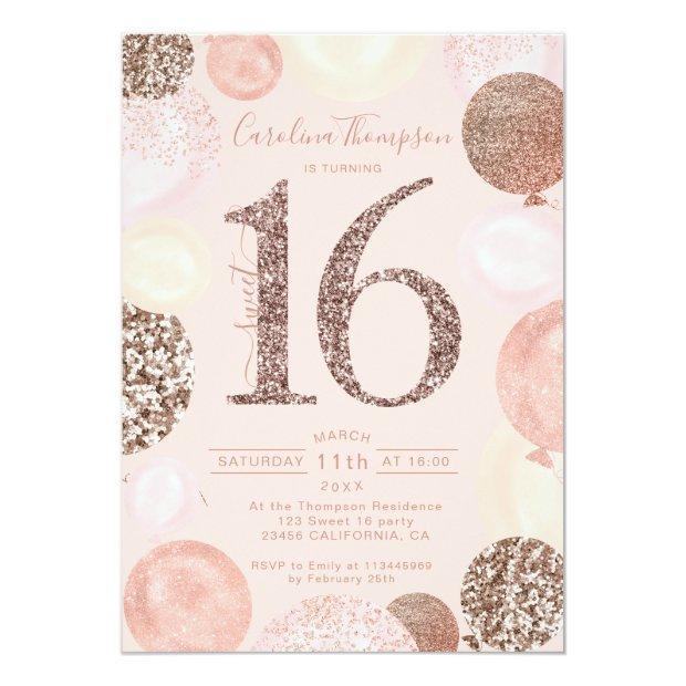 Rose Gold Glitter Blush Balloon Sweet 16 Photo Invitation