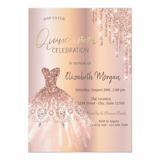 Rose Gold Glitter Drips Dress Quinceañera Invitation
