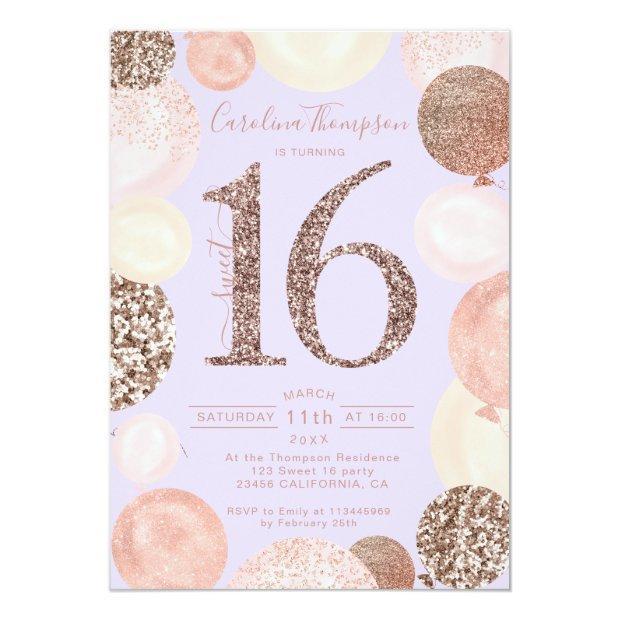 Rose Gold Glitter Lavender Balloon Sweet 16 Photo Invitation